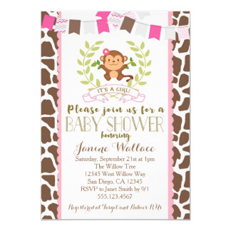 Monkey Girl Pink Baby Shower Invitation