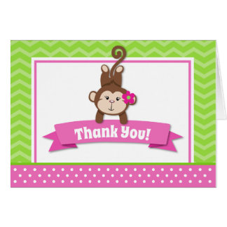 Monkey Girl Thank You Card Folded Note Card