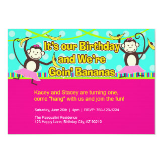 Monkey Girls Birthday Invitations, Twins Card