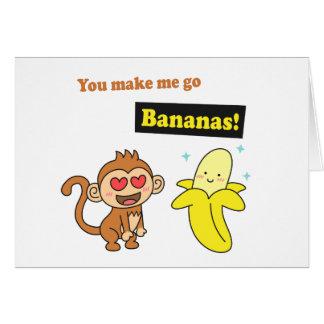 Monkey go Bananas, Cute Love Humor Greeting Card