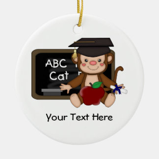 Monkey Graduation 1 (Customizable) Round Ceramic Decoration