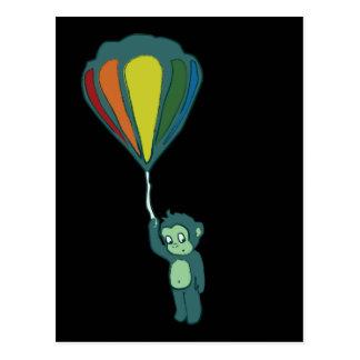 monkey hot air balloon ink postcard