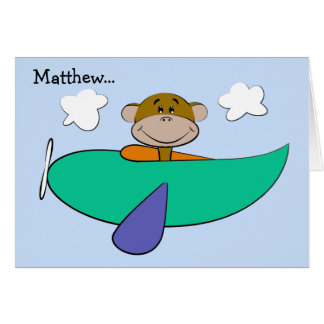 Monkey in Colorful Airplane Birthday Card