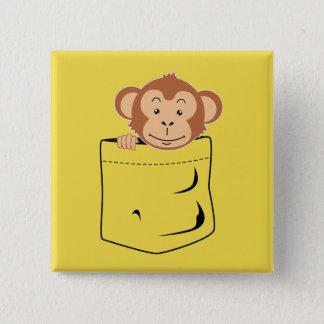 Monkey in pocket 15 cm square badge