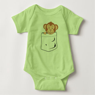 Monkey in pocket baby bodysuit