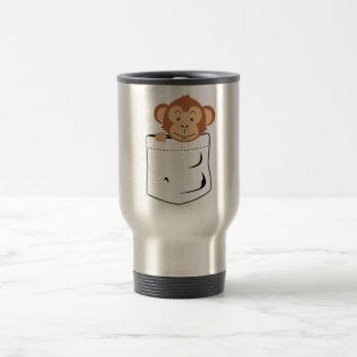 Monkey in pocket travel mug