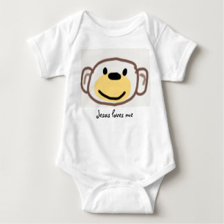 Monkey, Jesus loves me Baby Bodysuit
