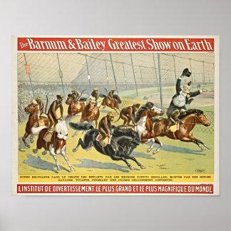 Monkey Jockeys On Shetland Ponies Circus Poster