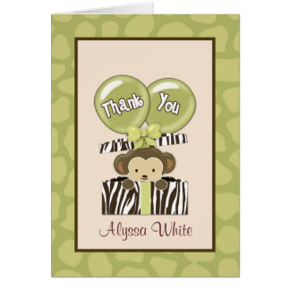 Monkey Jungle Baby Shower CA Thank You Note Card