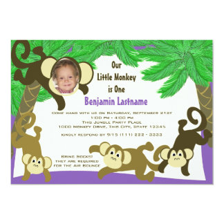 Monkey Jungle Birthday with Photo Card