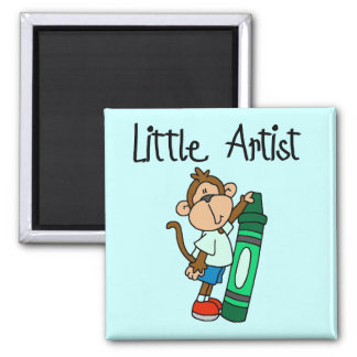 Monkey Little Artist Tshirts and Gifts Square Magnet