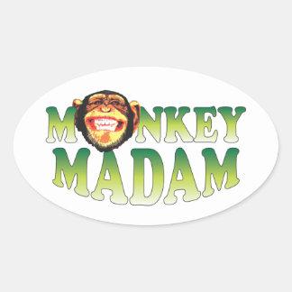 Monkey Madam Oval Sticker