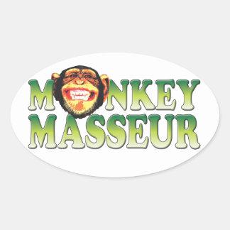 Monkey Masseur. Oval Stickers