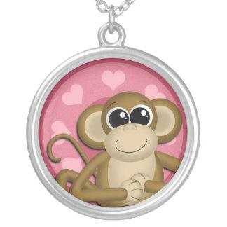 Monkey Me Pink Love Round Pendant Necklace
