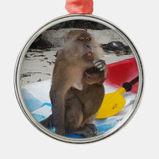 Monkey Mother & Baby Metal Ornament