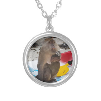 Monkey Mother & Baby Silver Plated Necklace
