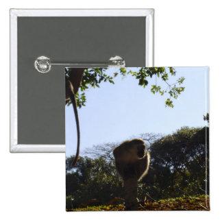 Monkey on a fence post pinback button