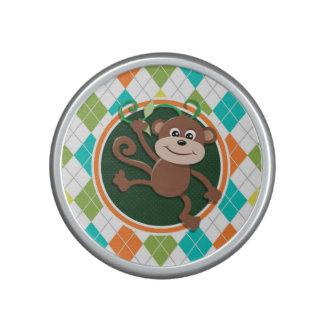 Monkey on Colorful Argyle Pattern Bluetooth Speaker