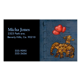 Monkey On Elephants Back Heart Balloons Business Cards