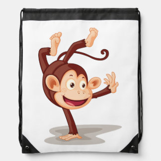 Monkey On One Hand Drawstring Backpack