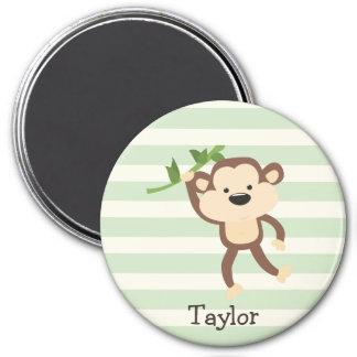 Monkey on Pastel Green Stripes 7.5 Cm Round Magnet