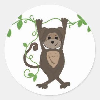Monkey on the Vines Round Sticker