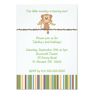 Monkey on vine 2nd birthday party invitation CUTE
