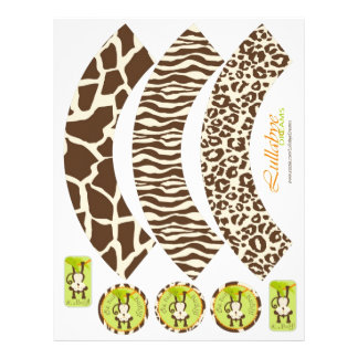 Monkey & Pacifier Animal Print Cupcake Wrappers