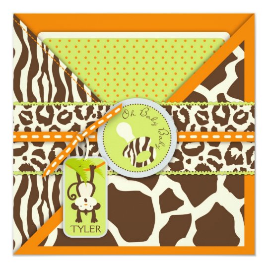 Monkey & Pacifier Safari Animal Print Baby Shower Card