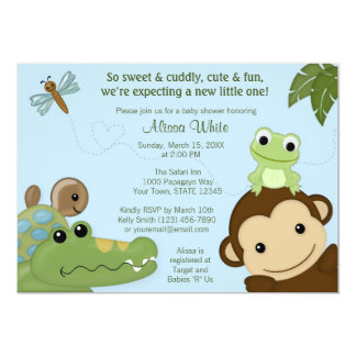 MONKEY Papagayo Baby Shower invitation blue PML-B