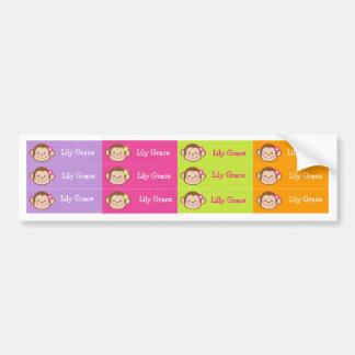 Monkey Personalized Kids name Waterproof Labels Bumper Sticker
