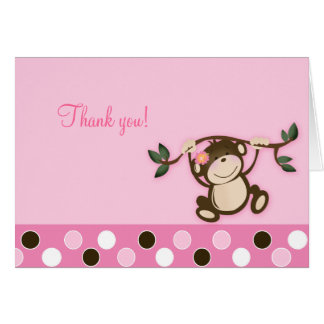 Monkey Play Pink Folded Thank you notes