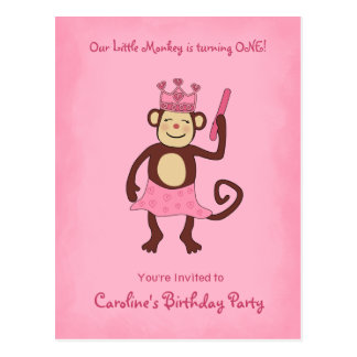 Monkey Princess 1st Birthday Postcard