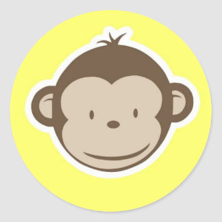 Monkey Round Sticker