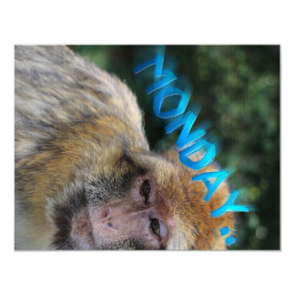 Monkey sad about monday card