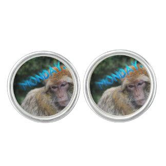 Monkey sad about monday cuff links
