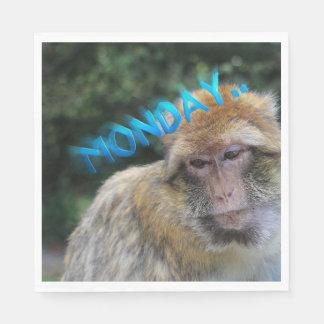 Monkey sad about monday disposable napkin