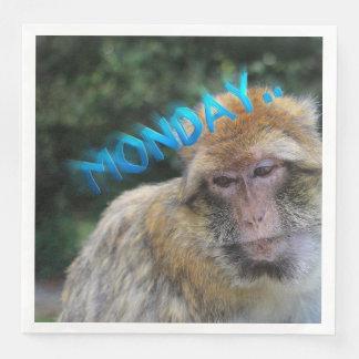 Monkey sad about monday disposable serviette