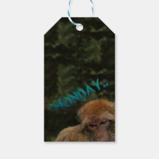 Monkey sad about monday gift tags