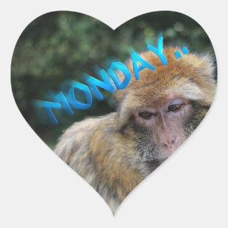Monkey sad about monday heart sticker