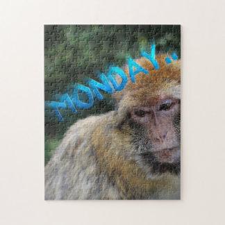 Monkey sad about monday jigsaw puzzle