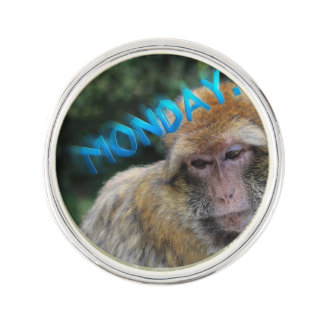 Monkey sad about monday lapel pin