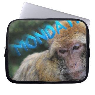 Monkey sad about monday laptop sleeve