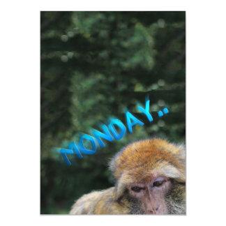 Monkey sad about monday magnetic card
