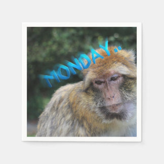 Monkey sad about monday paper napkin
