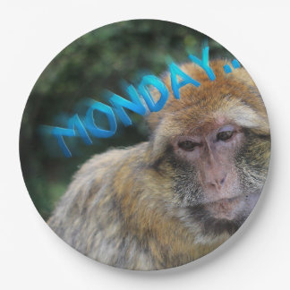 Monkey sad about monday paper plate