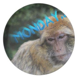 Monkey sad about monday plate