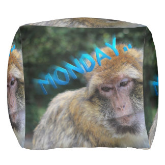 Monkey sad about monday pouf