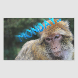 Monkey sad about monday rectangular sticker