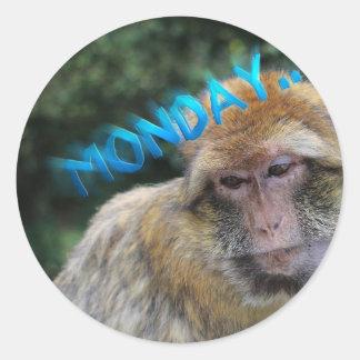 Monkey sad about monday round sticker